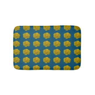 Yellow Rose Blooms Bath Mat