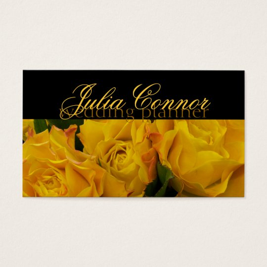 Yellow Rose Bouquet Wedding Planner Business Card