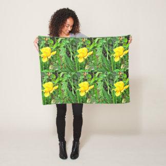 Yellow Rose Bud in Green Fleece Pillow