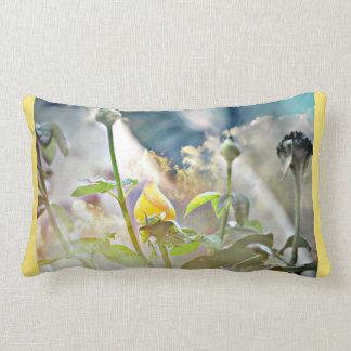 Yellow Rose Bud in The Clouds Poly Throw Pillow