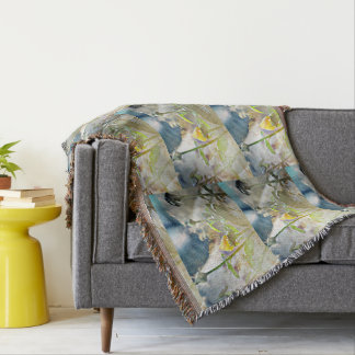 Yellow Rose Bud in the Clouds Throw Blanket