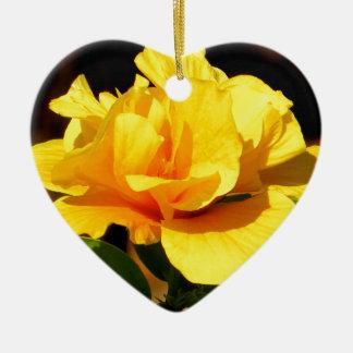Yellow Rose Ceramic Heart Decoration