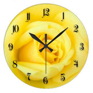 Yellow rose wall clocks