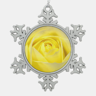 Yellow Rose Closeup Pewter Snowflake Decoration
