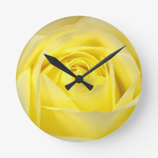 Yellow Rose Closeup Round Clock