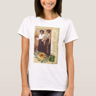 Yellow Rose Cowgirl Postcard Vintage Photo Collage T-Shirt