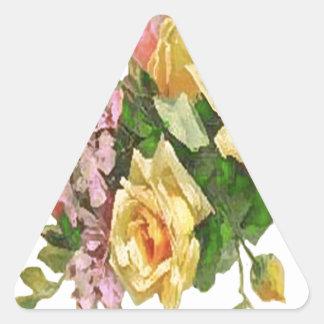 Yellow Rose Design Triangle Sticker