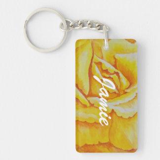 Yellow Rose Double-Sided Rectangular Acrylic Key Ring