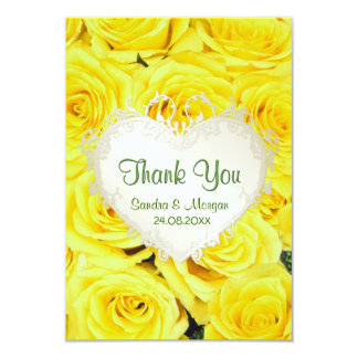 Yellow Rose Floral Wedding Thank You 9 Cm X 13 Cm Invitation Card