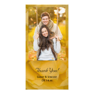 Yellow Rose Floral Wedding Thank You Photo Card Template