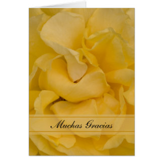 Yellow Rose Flower Spanish Thank You Gracias Note Card