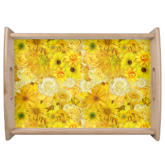Yellow Rose Friendship Bouquet Gerbera Daisy Serving Tray