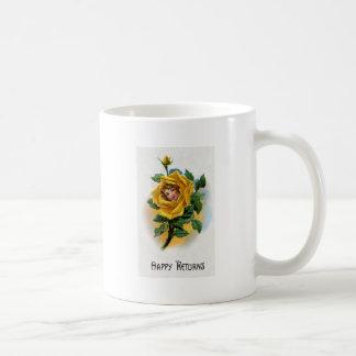 Yellow Rose Girl Vintage Greeting Basic White Mug