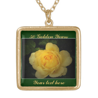 Yellow Rose ,Golden Anniversary Square Pendant Necklace