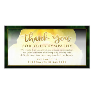 Yellow Rose Golden Thank You Sympathy Card Photo Greeting Card