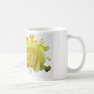 Yellow Rose Hearts Basic White Mug