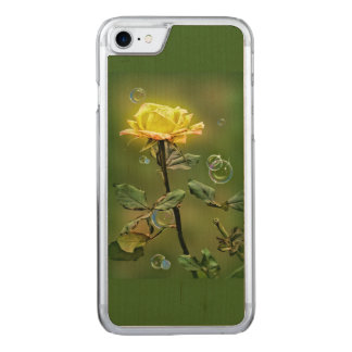 yellow rose iphone 6/6 slim maple wood case, carved iPhone 8/7 case