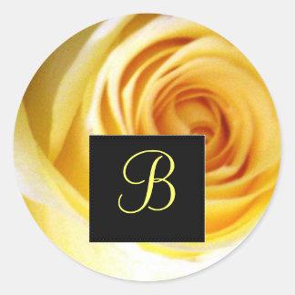 Yellow Rose Monogram Sticker