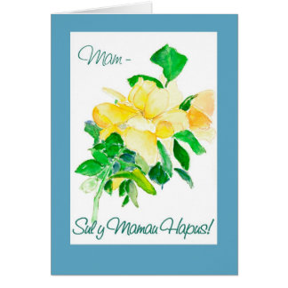 Yellow Rose Mother's Day Card for Mam: Welsh