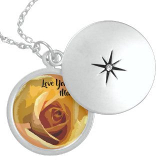 Yellow Rose Mother's Day  Sterling Silver Locket
