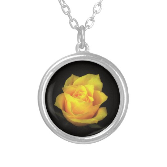 Yellow Rose Necklace. Silver Plated Necklace