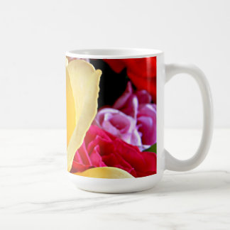 Yellow rose on a bouquet of roses mugs