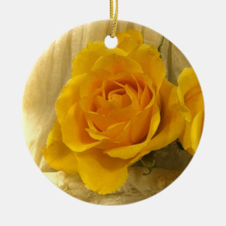 Yellow Rose on Lace Christmas Ornament
