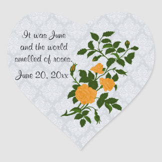 Yellow Rose on Light Blue Lace Look Background Heart Sticker