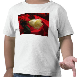 Yellow Rose on Red Satin T-shirt