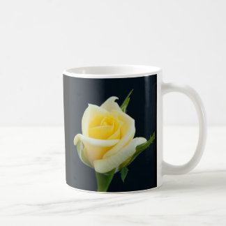 Yellow rose on the black background coffee mug