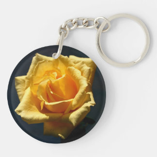 Yellow Rose photograph against dark background Double-Sided Round Acrylic Key Ring