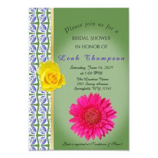 Yellow Rose Pink Flower Bridal Shower Card
