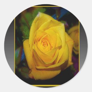 Yellow Rose Round Sticker