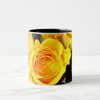 yellow rose Two-Tone coffee mug