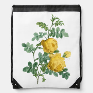 Yellow Rose vintage botanical illustration Drawstring Bag