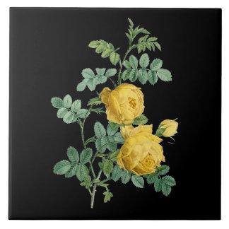 Yellow Rose vintage botanical illustration Tile