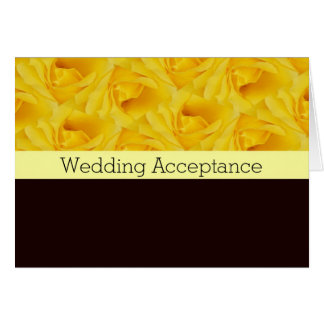 Yellow Rose Wedding Acceptance Note Card