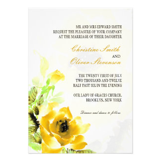 Yellow Rose Wedding Invitation