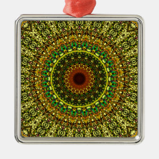Yellow Rose Window Design For Stained Glass Christmas Ornament