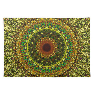 Yellow Rose Window Design For Stained Glass Place Mat