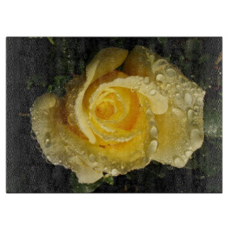 Yellow Rose with dew Cutting Board