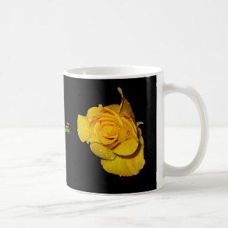 Yellow Rose with Dew Drops Basic White Mug
