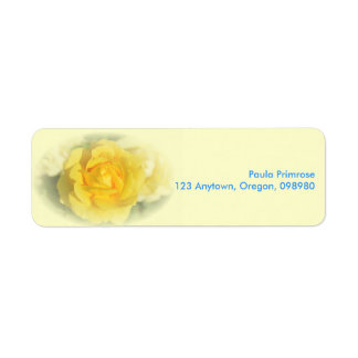 Yellow Rose with Faded Blue Return Address Label