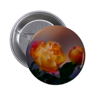 Yellow rose with pink and meaning 6 cm round badge