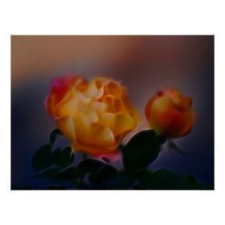 Yellow rose with pink and meaning poster