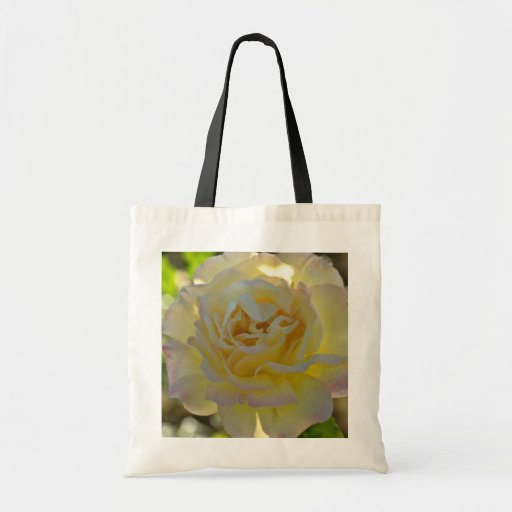 Yellow Rose With Pink Tinged Petals flowers Canvas Bag