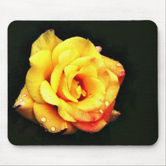 Yellow rose with rain drops mouse pad
