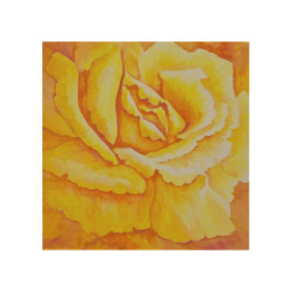 Yellow Rose Wood Wall Decor