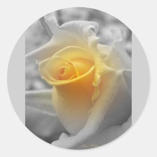 Yellow Rosebud Grayscale Round Sticker