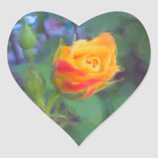 Yellow Rosebud Heart Sticker
